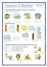 esl kids worksheets seasons u0026 weather