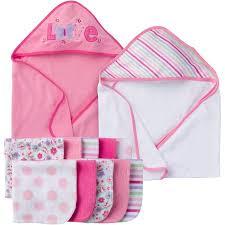 bath gift sets gerber newborn baby girl towel and washcloths bath gift set 12