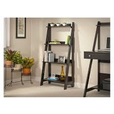 decorating charming black wooden ladder bookshelf near the black