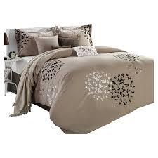 Tan Comforter Queen Size 8 Piece Comforter Set In Light Brown Black Tan White
