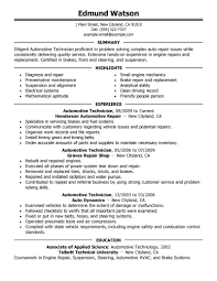 Resume Samples With Summary by Basic Auto Technician Or Mechanic Resume Sample Featuring Summary