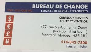 bureau de change en bureau de change montréal qc 477 rue sainte catherine o canpages
