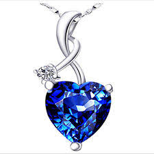 sapphire sterling silver necklace images Sterling silver sapphire necklace ebay jpg