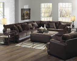 Sofa Leather And Fabric Combined by Rustic Modern Minimalist Living Room Design With Fabric U Shaped