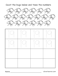 Worksheets For Kindergarten Printable Number 19 Writing Counting And Identification Printable