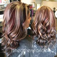 dark brown with red and blonde chunky highlights red hair brown