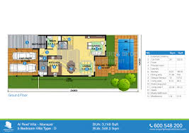 floor plan of arabian style al reef village 5 bedroom type d 3749 1 sqft