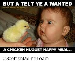 Scottish Meme - but a telt ye a wanted scottish memes and banter a chicken nugget