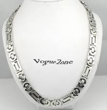white necklace men images _ atgo 11mm flat byzantine necklaces men 39 s stainless steel chain jpg