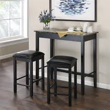 3 piece counter height table set dorel living devyn 3 piece faux marble pub dining set black