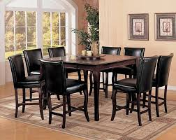 Black Tall Kitchen Table Counter Height Dining Set With - High kitchen tables and chairs