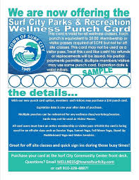 Bathroom Pass Punch Card Fitness U0026 Wellness Town Of Surf City North Carolina