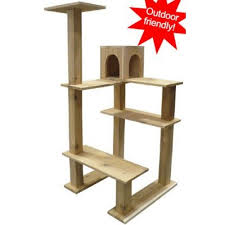cedar tower outdoor friendly cat tree condo