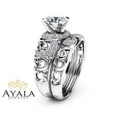 14k white gold moissanite bridal set unique engagement rings art