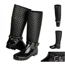 womens boots quilted ina knee high quilted wellington boots stretch shuboo