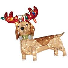 Lowes Holiday Decorations Holiday Living Lighted Dog Outdoor Christmas Decoration With White