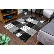 Modern Runner Rug Squares Grey And Black Modern Runner Rug