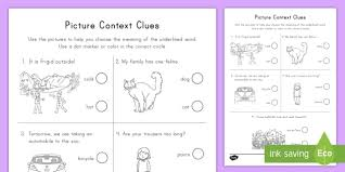 picture context clues activity sheet worksheet definitions