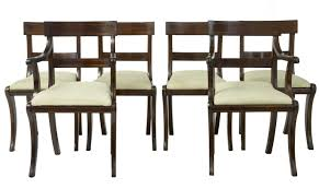 inlaid dining table and chairs 1920 s set of 6 regency influenced mahogany brass inlaid dining