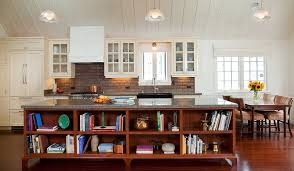Kitchen Island With Bookshelf Brown Wooden Island With Open Shelves White Kitchen Cabinets Black