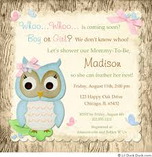 whoo baby shower invitation owl chic wood pink blue