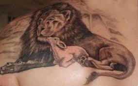 lamb and lion tattoo on back insigniatattoo com