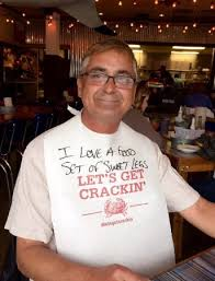 joe s crab shack t shirts wearing our bibs with the humorous comments written on them by