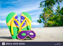 Purple Flag Beach Brazil Flag Flip Flops With Carnival Mask On Palm Fringed