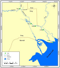 map arab map of shatt al arab river modified from national geography maps
