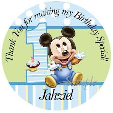 baby mickey 1st birthday personalized stickers baby mickey mouse 1st birthday personalized