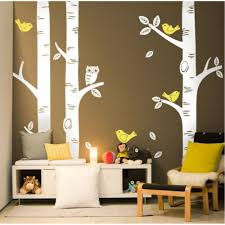 paris eiffel tower wall sticker large birch trees wall stickers with birds and owls