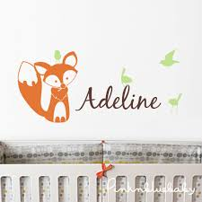 Wall Name Decals For Nursery Nursery Wall Decals Fox Birds And Custom Name Decal Wall