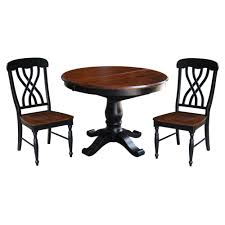 international concepts 3 piece aged ebony and espresso dining set