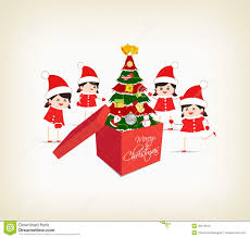 christmas tree gift boxes and kids greeting card stock vector