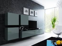 Wohnzimmer Farbe Grau Wohnwand Anbau Wand Fernsehschrank Hängeschrank Real