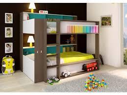 chambre garçon lit superposé superposés dorian 2x90x190cm etagères fond bleu