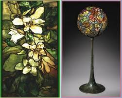 Louis Comfort Tiffany Lamp Magnolia Window Lead Stained Glass 1900 And Autumn Leaf Globe