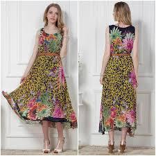 2017 leopard print floral sleeveless dress code to send big plus