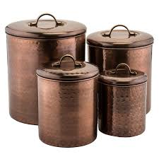 4 piece hammered antique copper canister set by old dutch