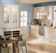 Kitchen  Simple Country Kitchen Ideas With Relaxing Blue Wall - Simple country kitchen
