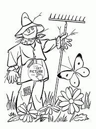 scarecrow in spring coloring page for kids seasons coloring pages