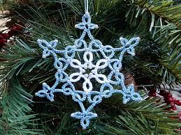 beaded tatted ornament lace snowflake