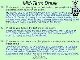 mid term break by seamus heaney mid term break by seamus heaney