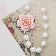 pearl rose necklace images Light pink rose and crystal white swarovski pearl necklace jpg