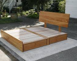 King Bed Frame With Drawers Storage Bed Etsy