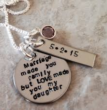 wedding gift necklace marriage made you family but made you my