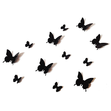 12PCS 3D Black Butterfly Wall Stickers Art Decal PVC Butterflies