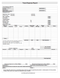 Detailed Expense Report Template by Travel Expense Report Template
