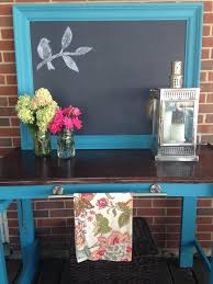 repurposed table and mirror to outdoor buffet and grilling station