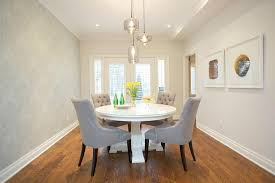 Dining Room With Wallpapered Accent Wall Transitional Dining Room - Dining room accent wall
